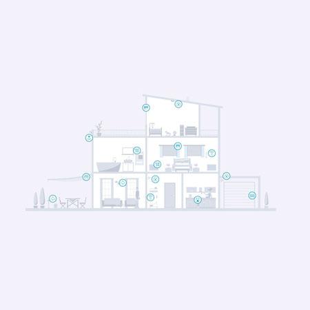 Grafik Smart Home Produktkombinationen im Haus